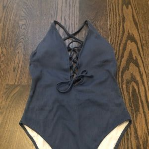 One piece lace-up front swimsuit